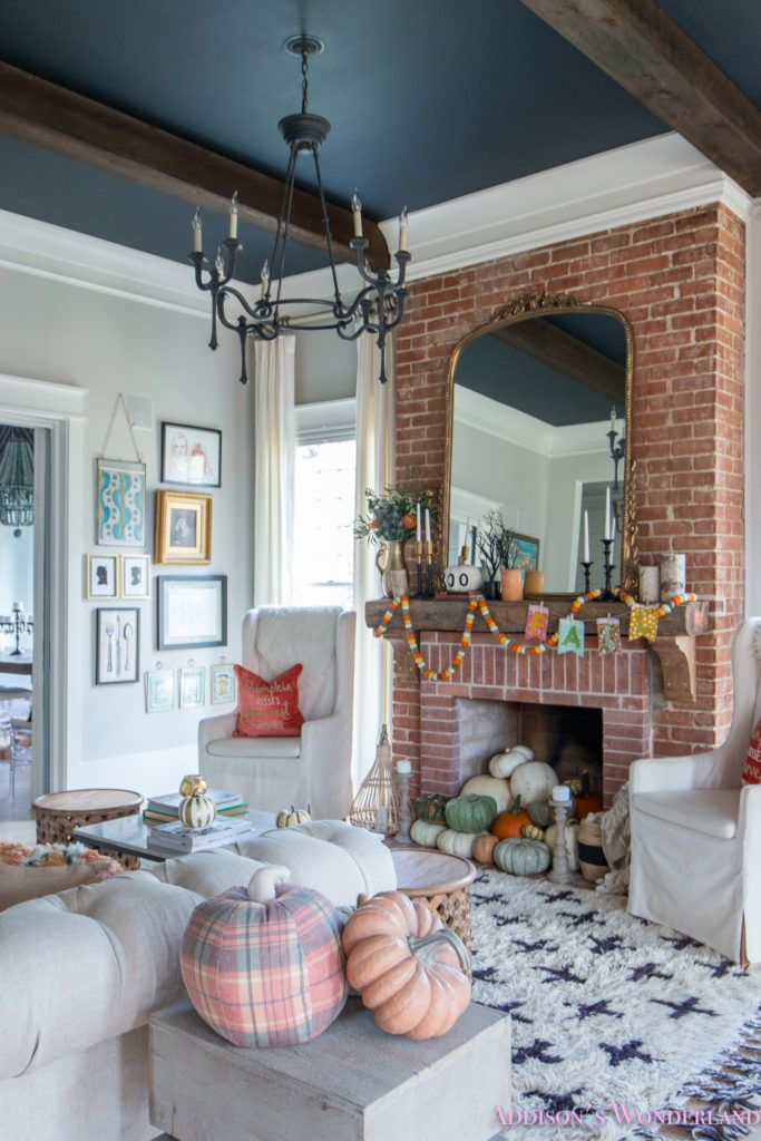 Our Fall & Halloween Living Room Decor w/ Mantle Ideas ...