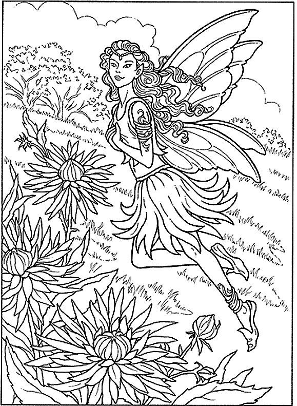 Fairy In The Garden Detailed Coloring Pages Fairy Coloring