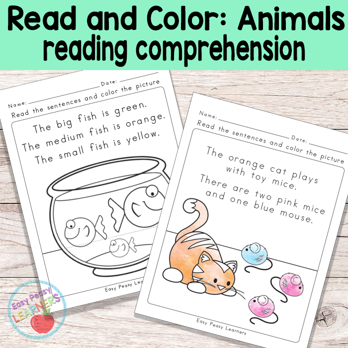 Animals Read and Color Reading Comprehension Worksheets | teacher ...