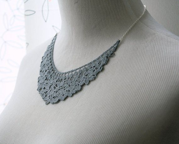 grey lace necklace.