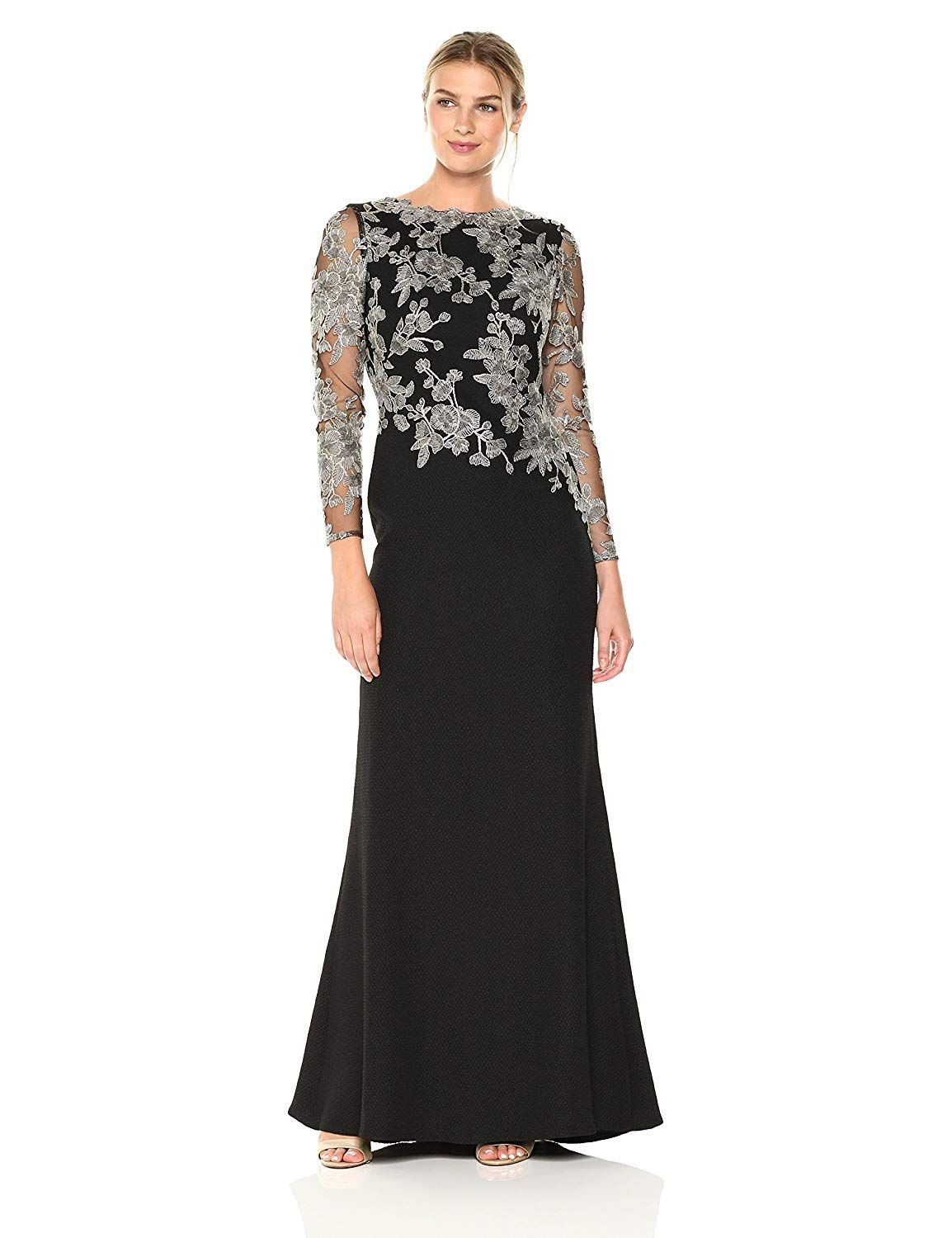 275ce064eed Tadashi Shoji Women s Long-Sleeve Gown in Textured Crepe with Floral Lace  Bodice