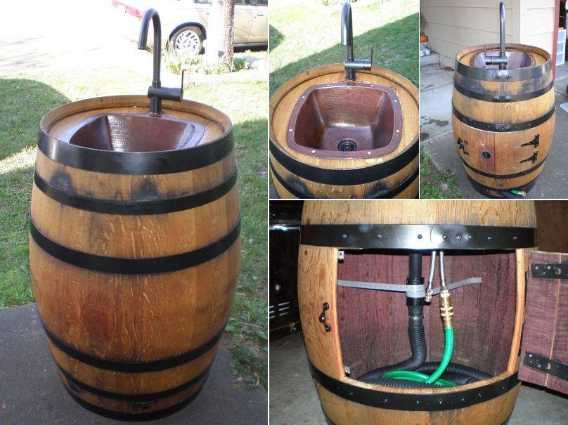 Outdoor Waschbecken.Outdoor Waschbecken Aus Einem Weinfass Diy Waschbecken