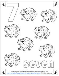 number 7 coloring page. Number Coloring Pages  Preschool Numbers Pinterest