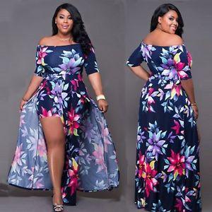 76b756d7d3b3 Women-Sexy-Plus-Size-Floral-Romper-Dress-Evening-Party-Bodycon-Split-Maxi -Dress