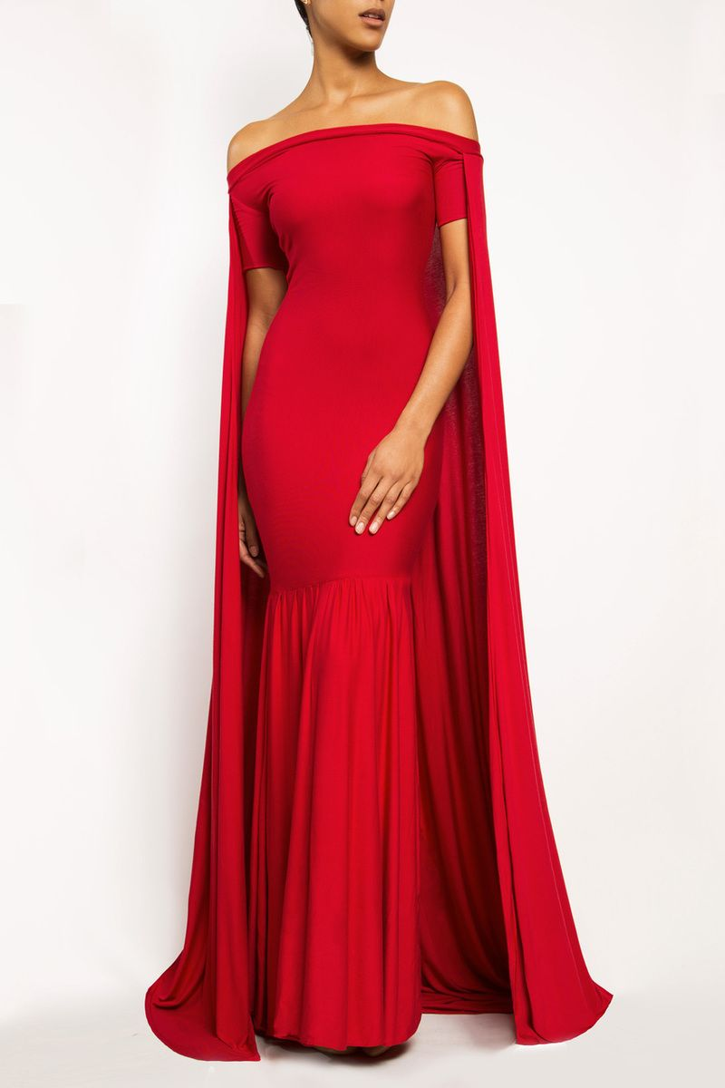 Angelina Long Red Cape Dress Gown Frock Los Angeles Ethical And