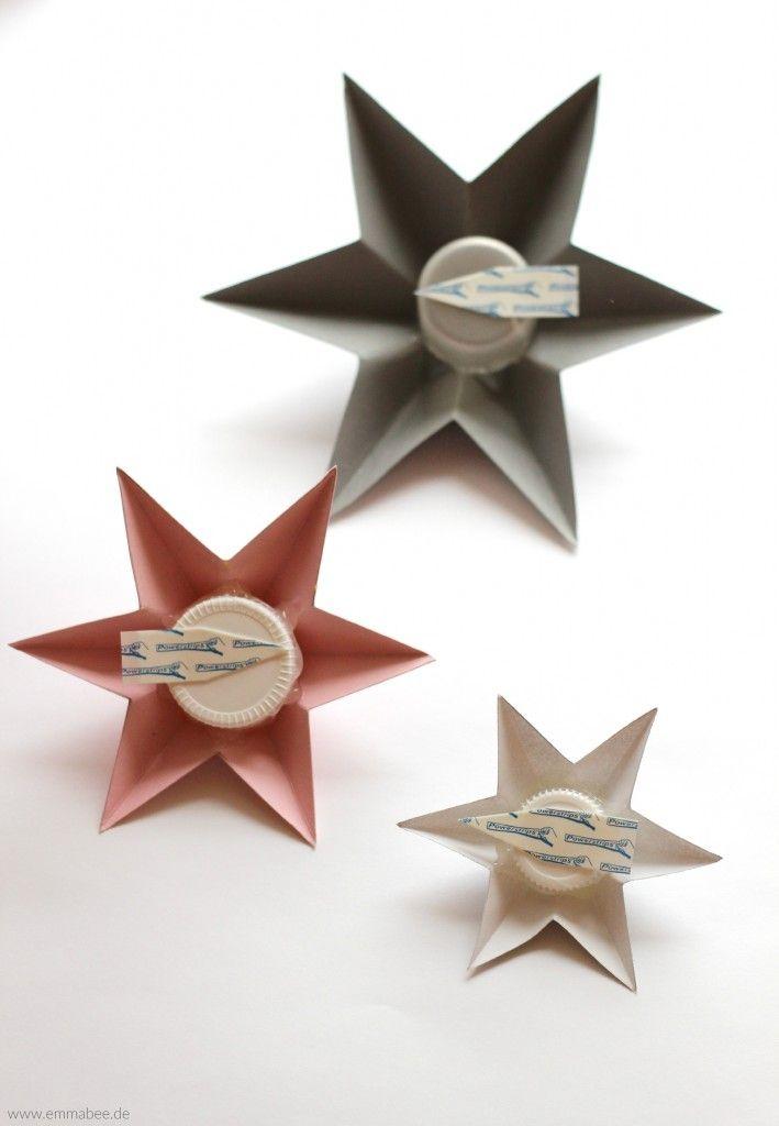 Weihnachts-DIY: Einfache 3D-Sterne mit viel Wirkung {mit Falt-Vorlage} - Emma Bee