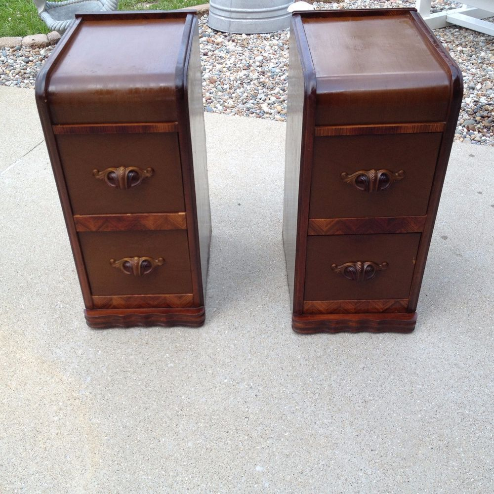 2 Antique Art Deco Waterfall Night Stand End Table