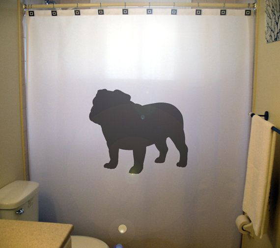 Bulldog Shower Curtain Extra Long Fabric Shower Curtains 84 90 96 Inch Custom Stall Size 36 54 78 Custom Shower Curtain Fabric Shower Curtains Dog Bathroom Decor Custom Shower Curtains