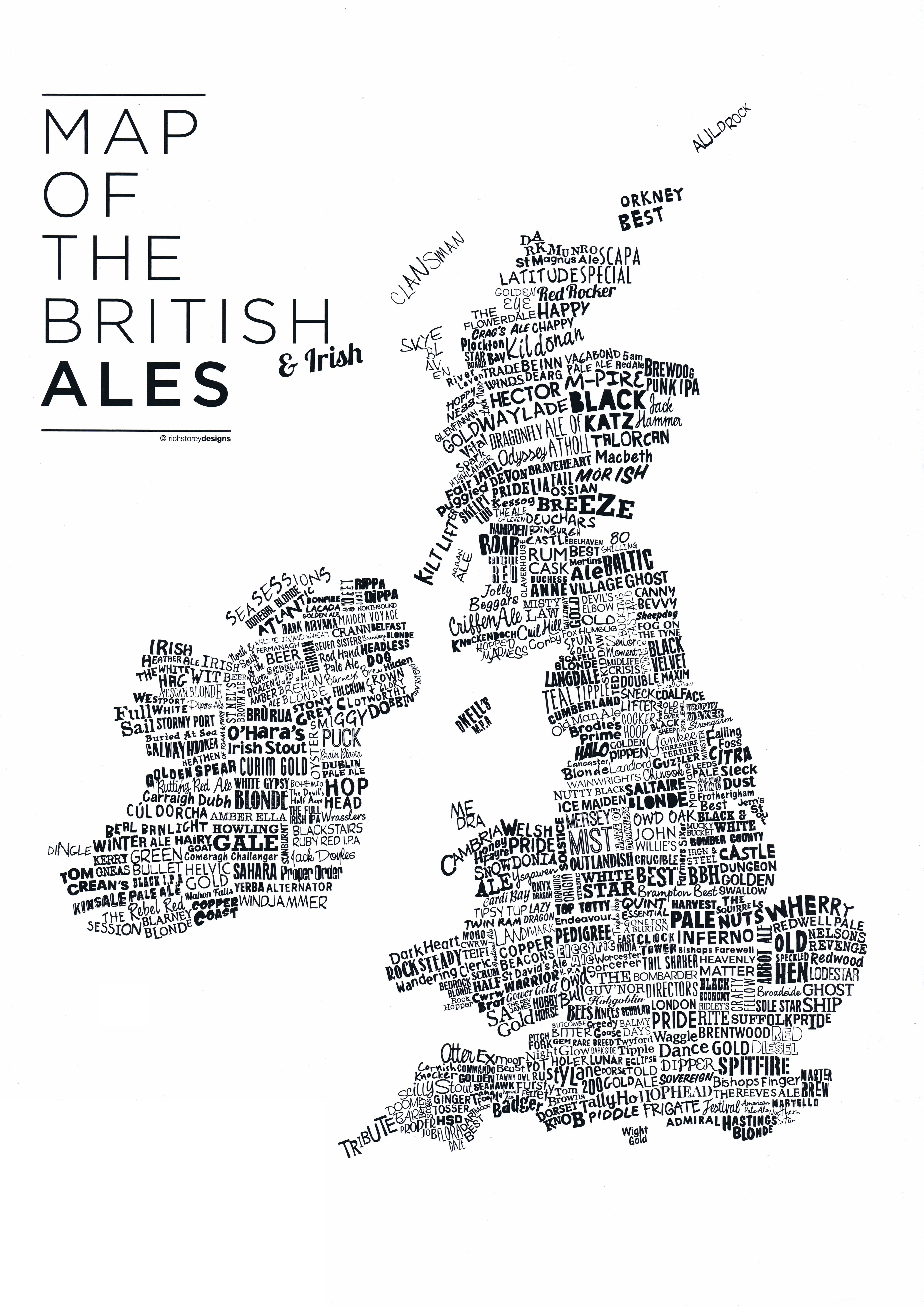 medium resolution of map of the british ales print a3 a4