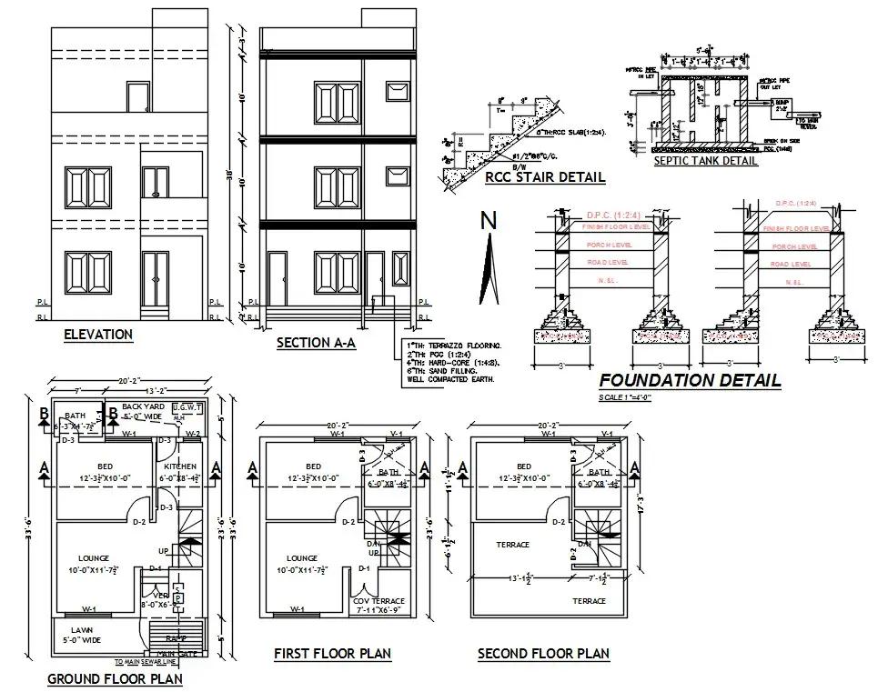 20 X 33 House Plan plete Drawing DWG File