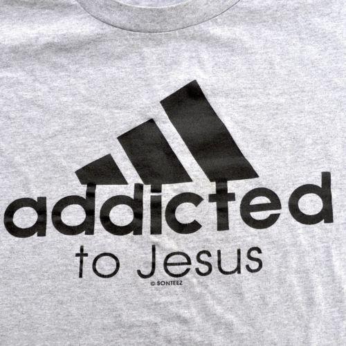 Addicted To Jesus Adidas Parody Logo Medium T-Shirt Christian SonTeez