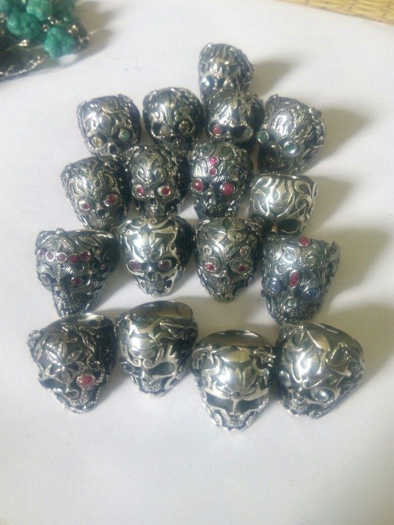 Many skull ring handmade  Silver 92.5