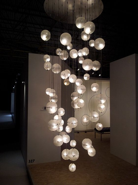 Pendant lighting catellani smith the spheres appear to have a crystal ice pattern on them