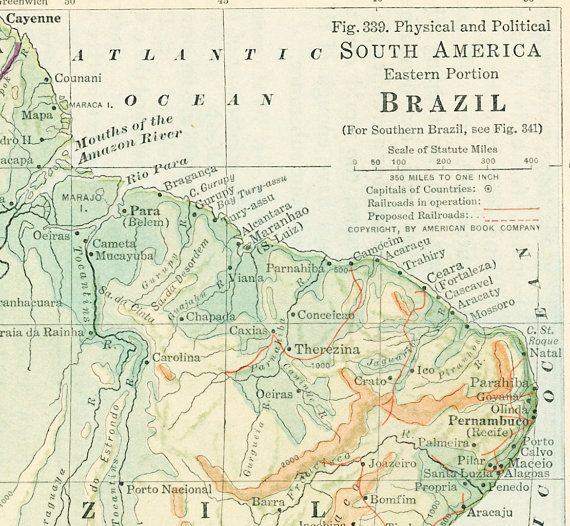 1930s Brazil map print Amazon River Eastern South America map