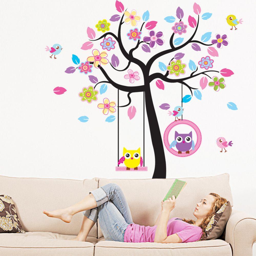 حار كبير الجدار ملصق الكرتون كبير شجرة البومة ديكور ملصقات الحائط للأطفال غرف نوم مسرحية الطفل منزل الديكور 17 Tree Bedroom Decor Kids Rooms Diy Sticker Decor