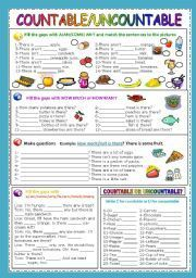English teaching worksheets: Countable and uncountable nouns ...