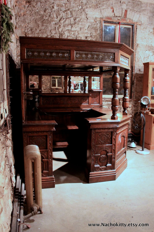 Vintage Furniture Glass Living Room Showcase Design Wood: English Corner Pub Bar Saloon, Antique, Wood, Glass