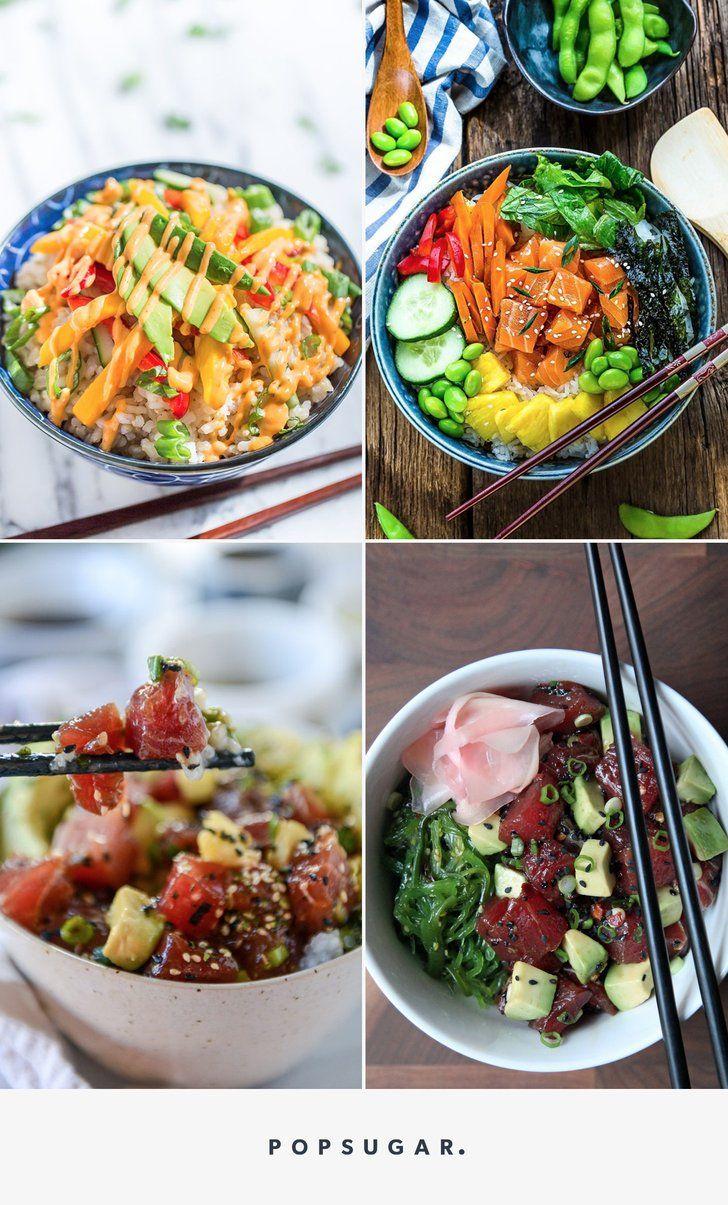 Salmon poke bowl with spicy mayo poke bowl shrimp sushi