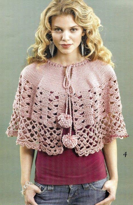 Poncho en rosa | CAPES,CAPELETS,COLLARS(capas,cuellos) | Pinterest ...