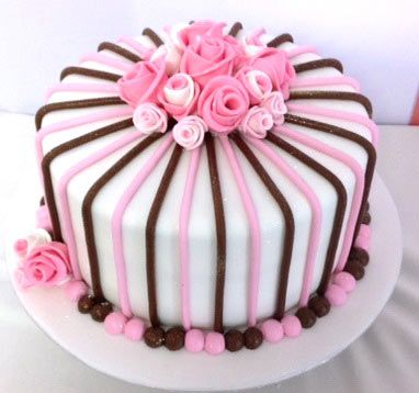 A classic cake for a lady with stipes and roses Birthday cakes
