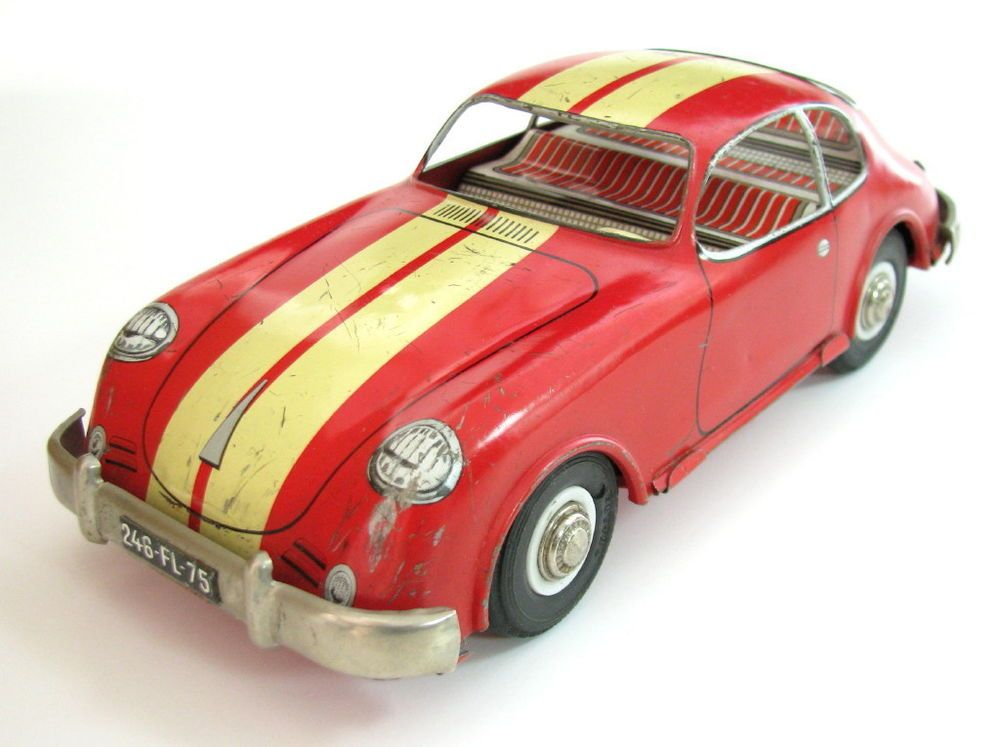Vtg Rare Early French Tin Friction Toy Car Porsche 356 France Made Joustra Joustra Toy Car Porsche 356 Early French