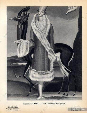 Fourrures Max (Fur Clothing) 1928 Jean Dupas, Original Lithograph PAN Paul Poiret