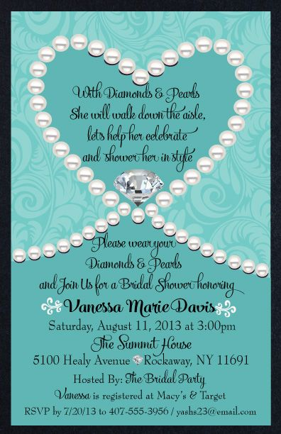 Diamonds Pearls Tiffany Blue Bridal Shower Invitation