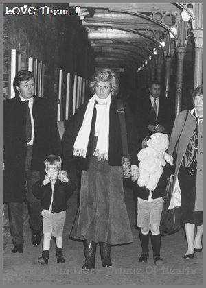 Princess Diana with Princes William and Harry circa 1988.