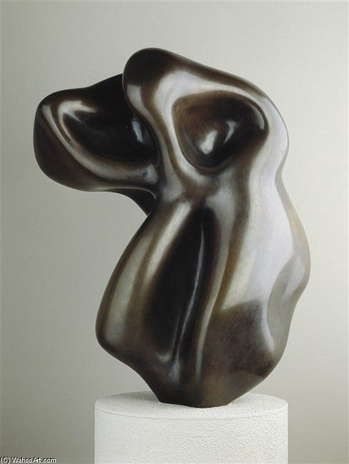 Evocation of a Form: Human, Lunar, Spectral, an abstract bronze sculpture by Jean Arp. Modeled 1950, cast in 1957. Born 9/16/87 in Strassburg, Germany (now Strasbourg, France), he died 6/7/66 in Basel, Switzerland. A French sculptor, painter and poet he was leader of European avant-garde and arts during the first half of the 20th century.