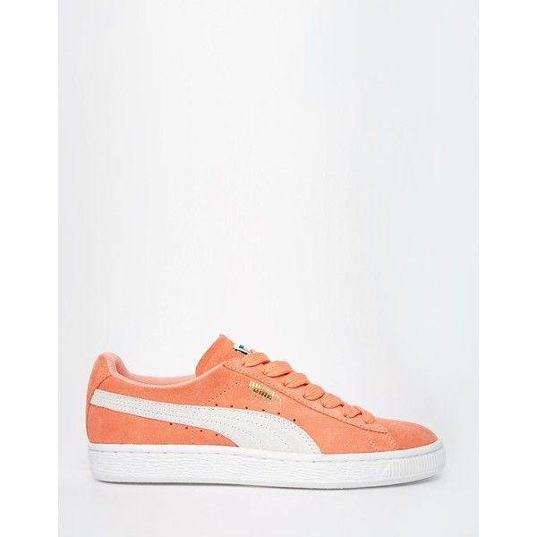 Puma Coral Suede Basket Trainers ($79) ❤ liked on Polyvore featuring shoes, sneakers, puma shoes, suede shoes, laced sneakers, grip trainer and suede sneakers