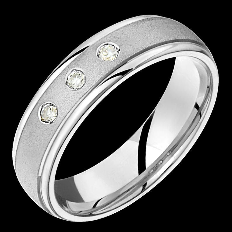 6mm wide comfort fit 10k white gold solid not plated