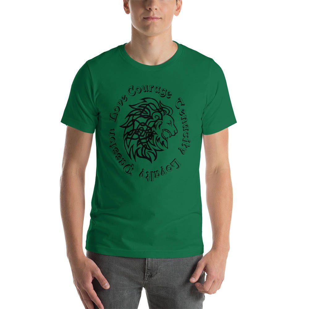 Celtic Animal Symbols Lion Head Short Sleeve Unisex T Shirt Irish