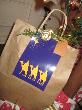 Beautiful Use Old Christmas Cards To Decorate Store Bags To Cover The Logos,  Brilliant!