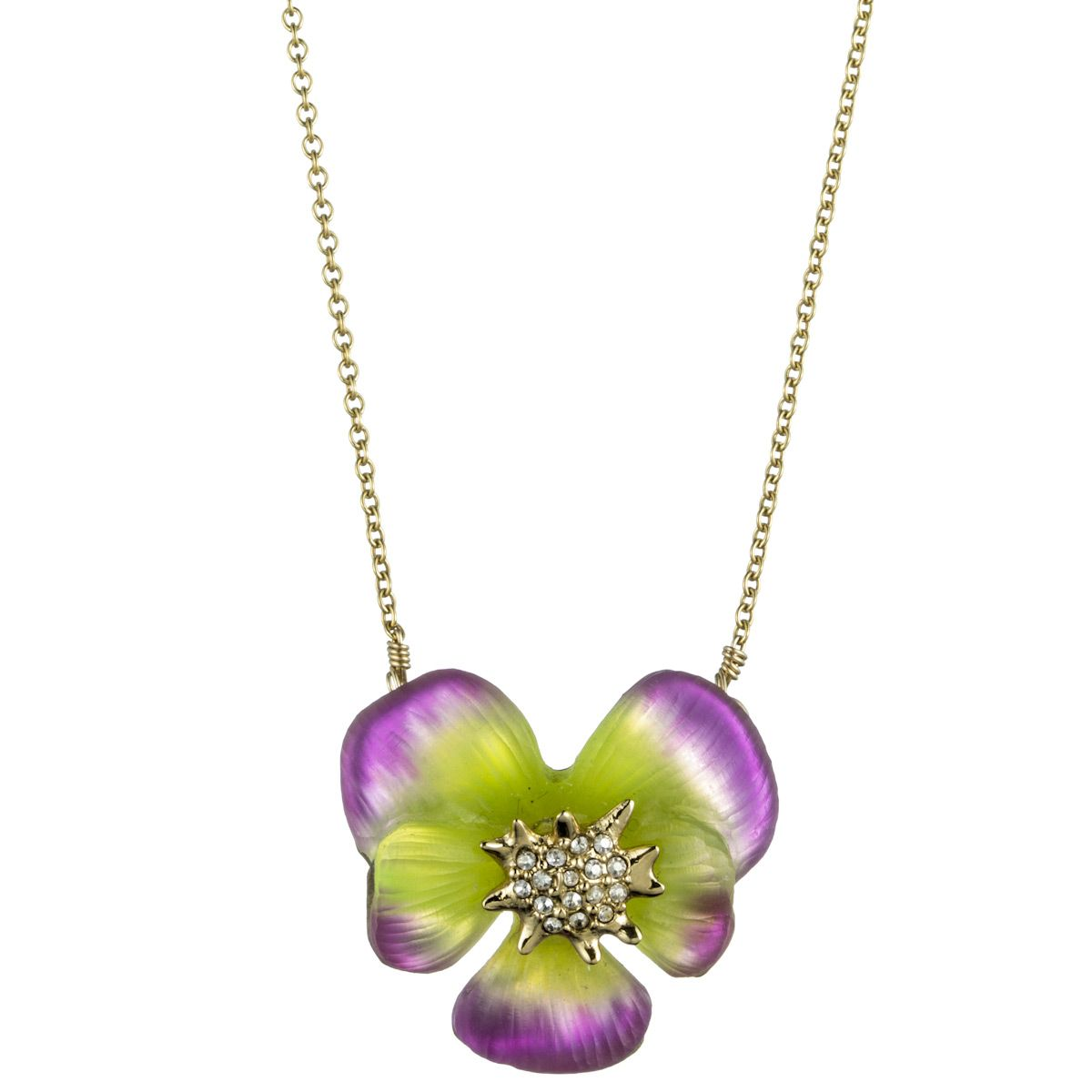 Ophelia Gold Pansy Pendant::Necklaces::Lucite::Collections::Alexis Bittar