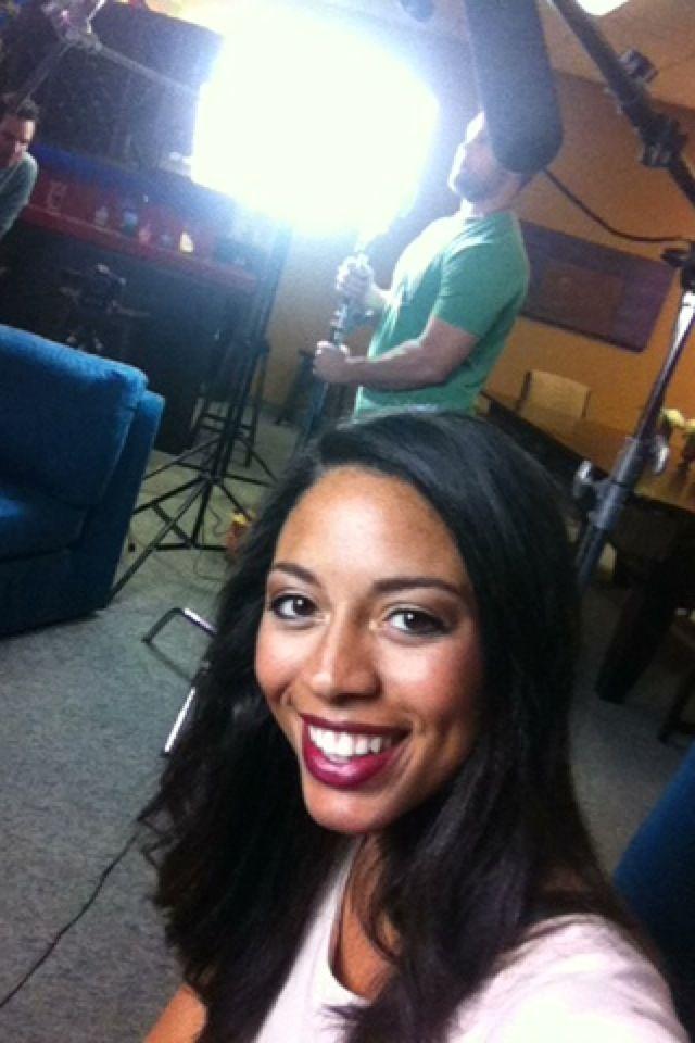 There's always time for a selfie! Host of On Location, Mercedes, interviews Matt and Dana DeVance of DeVance AV Design.