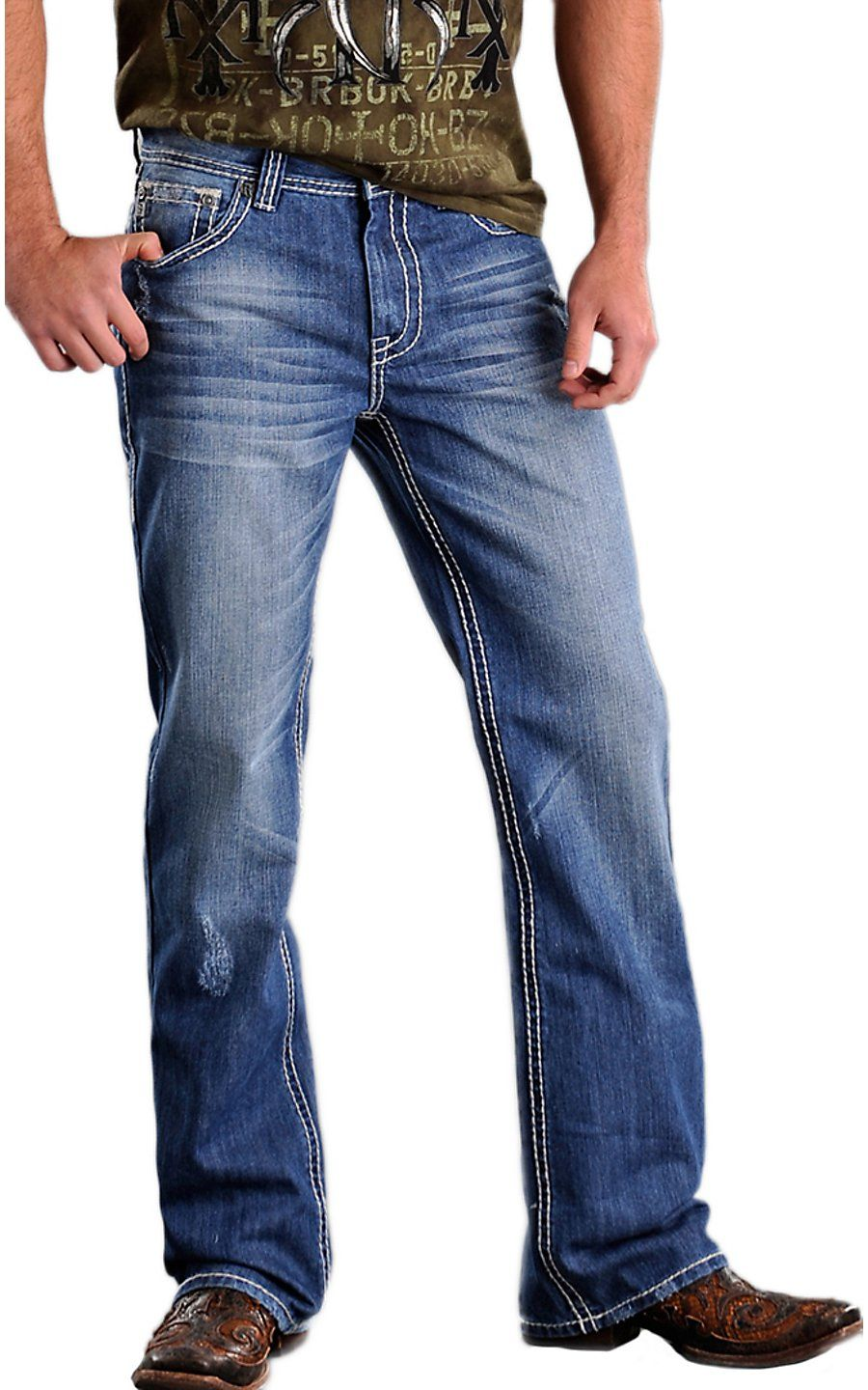 bd82e868bc210 Rock   Roll Cowboy® Medium Stonewash Double V Barrel Relaxed Fit Boot Cut  Jeans