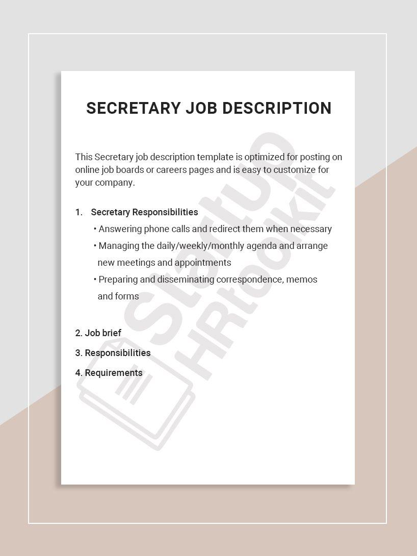 This Secretary job description template is optimized for