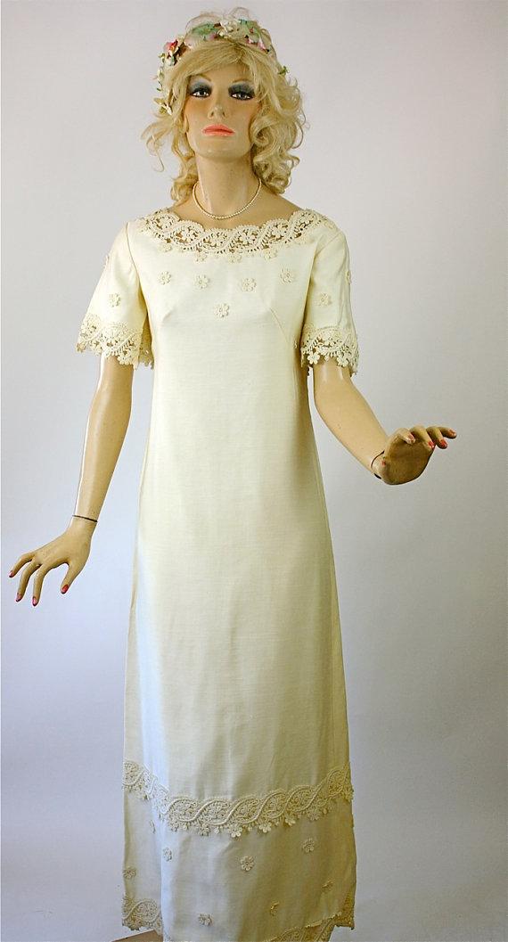 Vintage 60s Wedding Dress Simple Elegance Ivory Cotton Linen Long ...