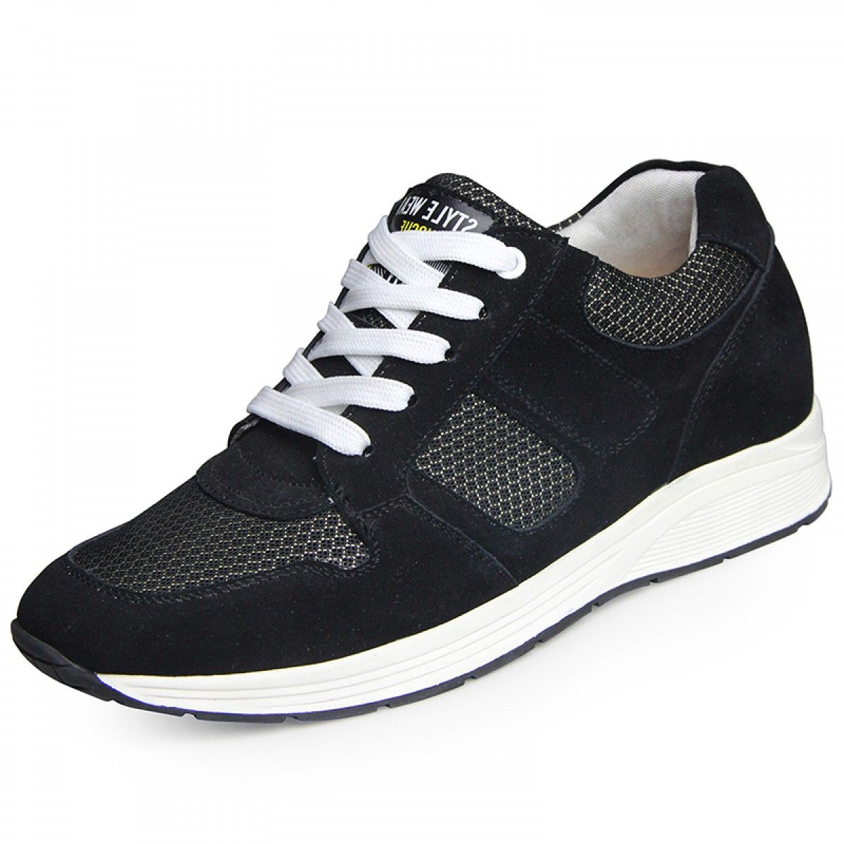 summer increasing shoes for men look taller 6.5cm / 2.56inches black elevator sneakers