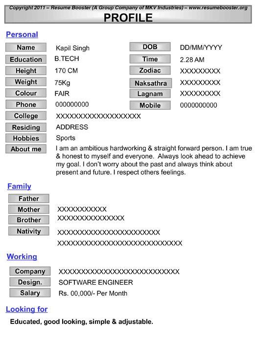 matrimonial resume template