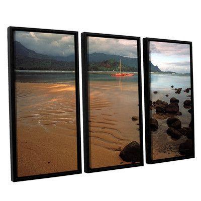ArtWall Hanalei Bay At Dawn by Kathy Yates 3 Piece Framed Photographic Print Set