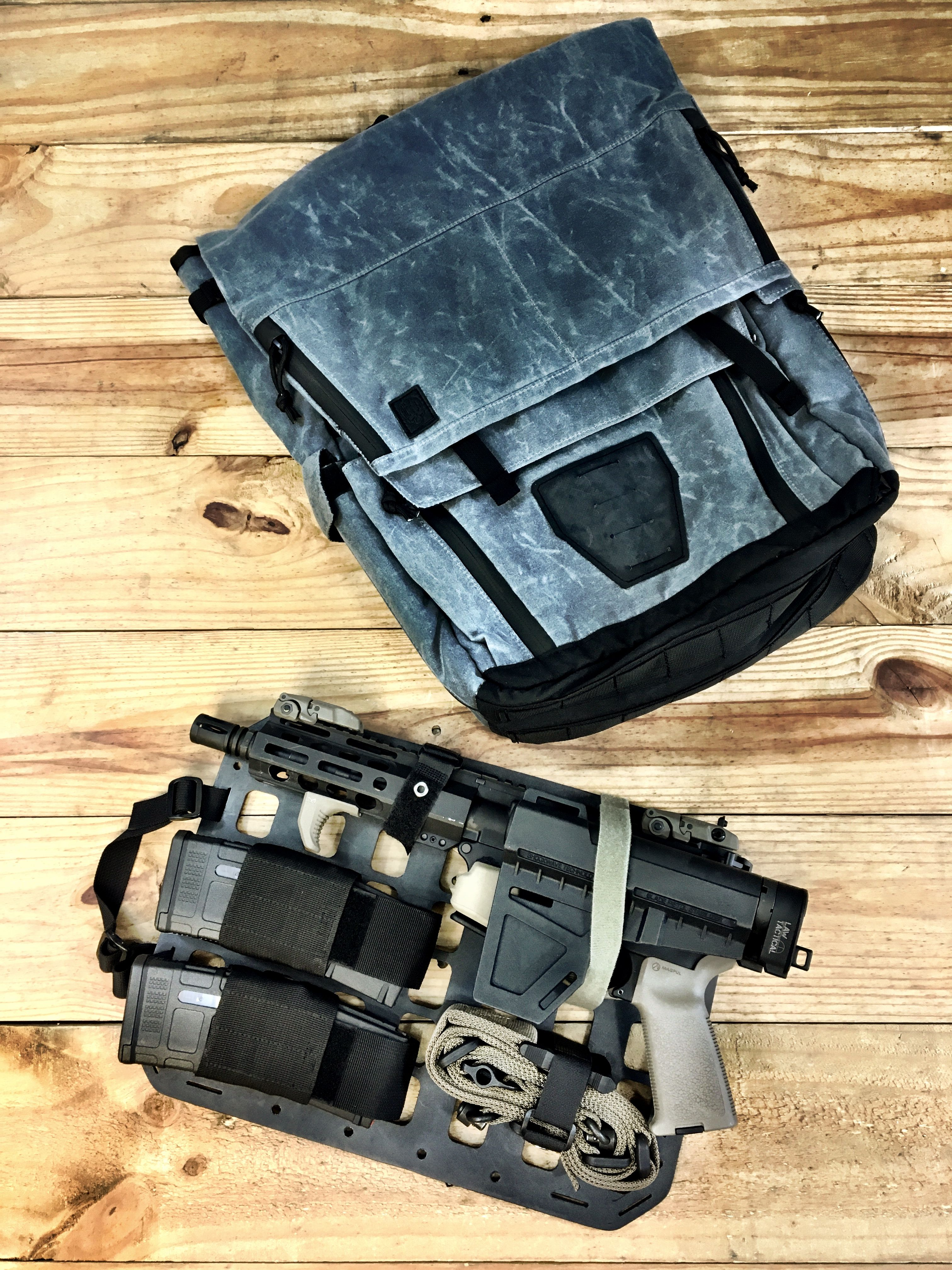e07ae3045f Grey Ghost Concealed Carry Pack in Waxed Canvas and Grey Man Tactical Rigid  Insert Panel-MOLLE. Find this Pin and more on Covert Bags ...