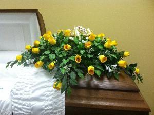 Yellow silk flower casket spray for 14500 available at httpwww yellow silk flower casket spray for 14500 available at httpthecasketstore mightylinksfo