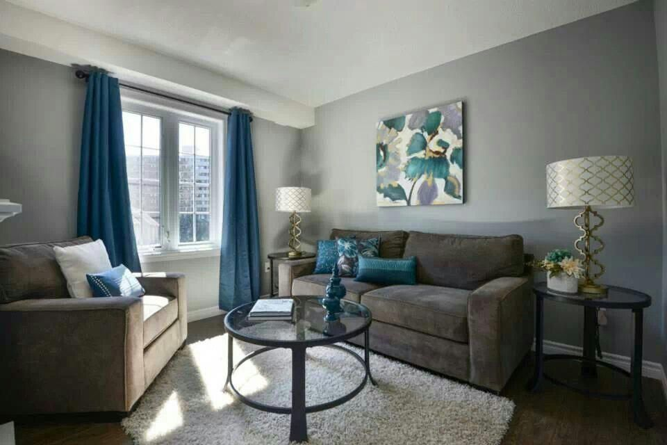 Love The Gray Walls With Blue Accents Grey Walls Living Room
