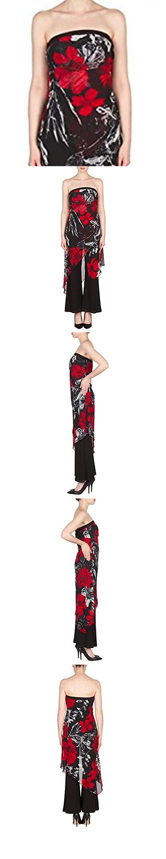 008004295daf Joseph Ribkoff Mock 2-Piece Strapless Jumpsuit with Floral Chiffon Overlay  Style 173620 - Size