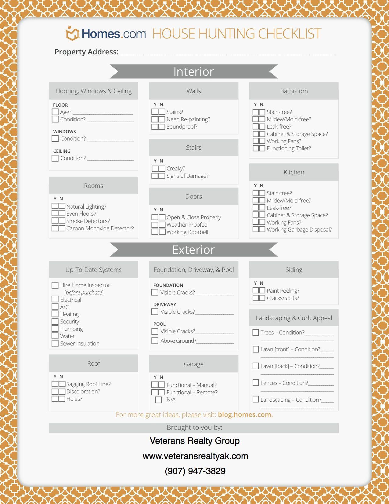 House Hunting Tips Printable Checklist