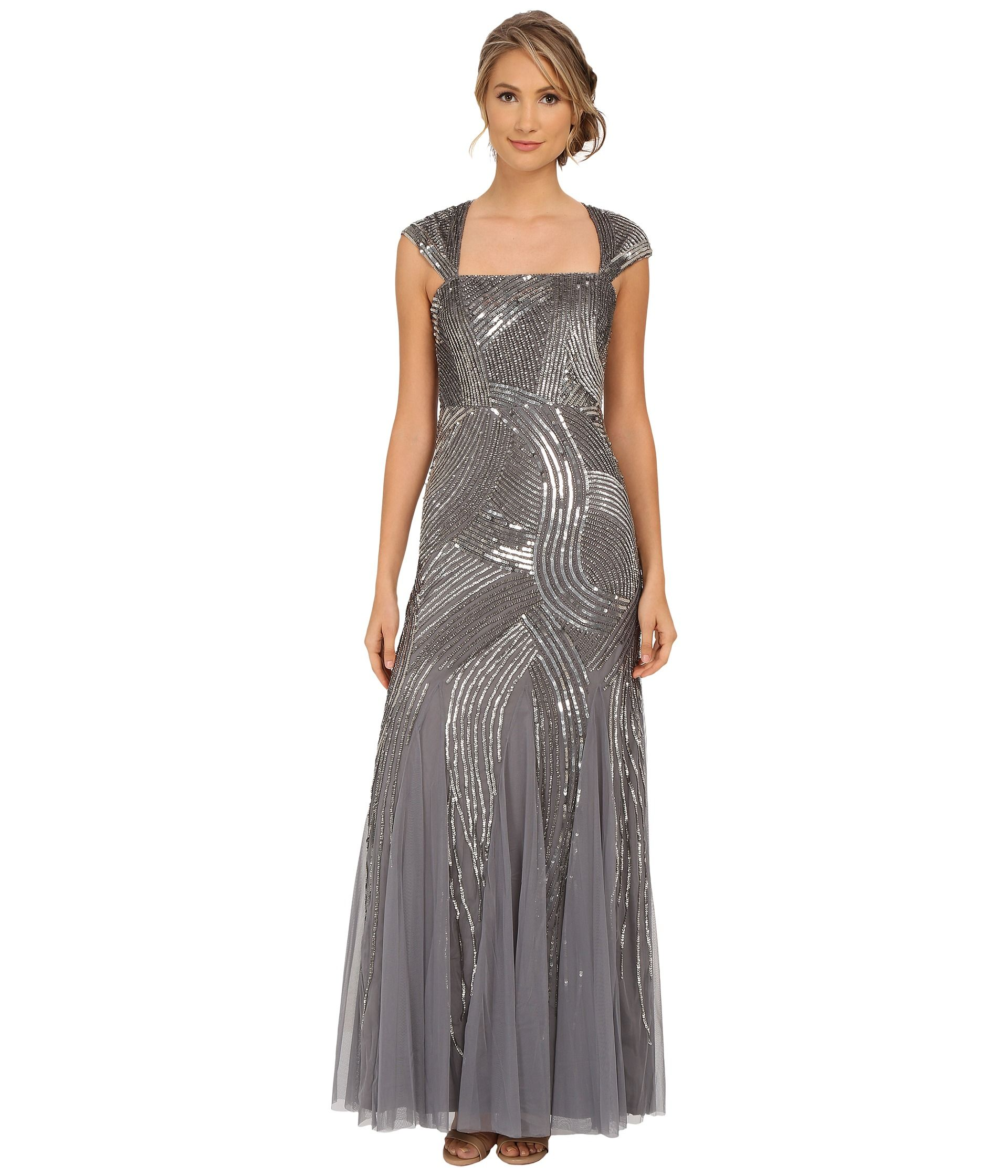 Adrianna papell cap sleeve beaded gown taille robes