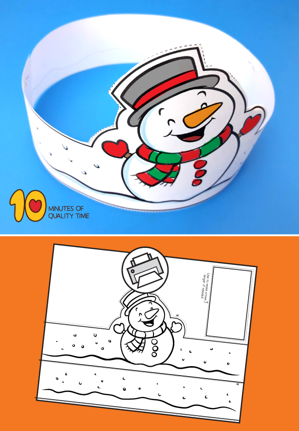 Snowman Printable Crown 10 Minutes Of Quality Time