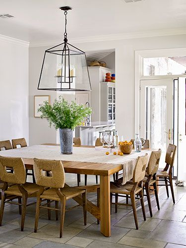 A Family Friendly Texas Ranch Large Square Dining Table Square Dining Tables White Dining Room