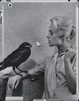 Tippi Hedren Having Her Cigarette Lit By A Crow On
